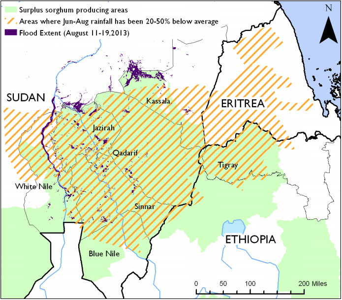 Figure 1. Areas of Sudan, Ethiopia, and Eritrea affected by below-average June-August rainfall