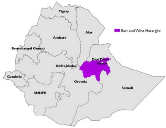 Figure 2. Location of East and West Hararghe Zones, Oromia Region
