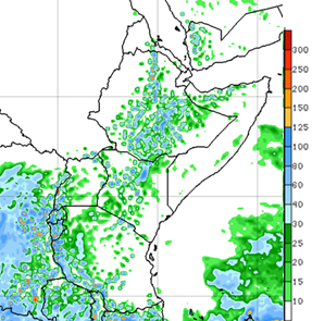 Figure 3. GFS Rainfall Weekly Forecast (mm), valid up to February 29, 2016