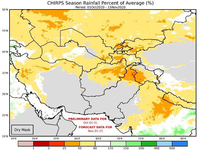 This is a map of Afghanistan with yellow and orange colors covering most of the country, indicating precipitation between 25-80% of the average. Over southwestern parts of the country, there is a dry mask and the forecast is not visible.