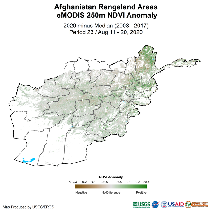 This map shows most of the rangeland areas of the country (in the central and northeastern regions) in grey, representing median NDVI values. Parts of the northeastern Badakhshan province are in green, representing NDVI values above the median.