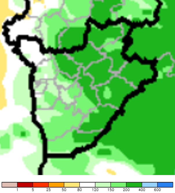 Map of Burundi showing rainfall accumulation (percent of normal) in October. Areas in northeastern Burundi received over 200% of normal rainfall, while areas in the southwest received between 80-200% of normal rainfall.