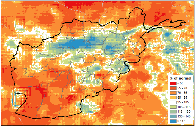 This is a map of Afghanistan showing that precipitation of 70% of average or less has been received across much of the country. Average to above average precipitation has been received in some northern/central areas.