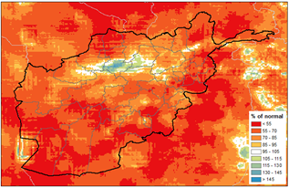 This is a map of Afghanistan showing that below-average precipitation has been received across most of the country, and less than 70% of normal in many areas. Average to above average precipitation has been received in a small section of the north.