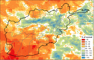 This is a map of Afghanistan showing that below-average precipitation has been received across much of the country, and less than 70% of normal in many areas. Average to above average precipitation has been received in some northern and eastern areas.