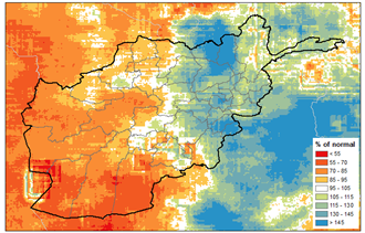 This is a map of Afghanistan showing that below-average precipitation has been received across much of the south, west, and some central and northern areas (less than 70% of normal in many areas). Average to above average precipitation has been received in other areas.