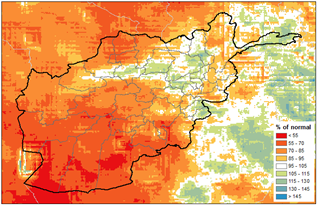 This is a map of Afghanistan showing that below-average precipitation has been received across much of the country, and less than 70% of normal in many areas. Average to above average precipitation has been received in some northern, northeastern, and eastern areas.