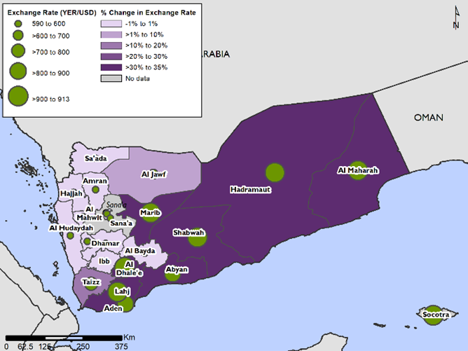 This is a map of Yemen showing the exchange rate is highest-and has increased the most-in southern IRG-controlled areas.