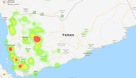 This is a map of Yemen showing that parts of Marib, Al Hudaydah, Taizz, and Sana'a have been worst-affected by conflict incidents.