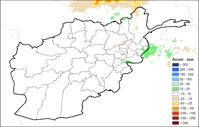 This is a map of Afghanistan showing white colors across the country, indicating average cumulative precipitation.