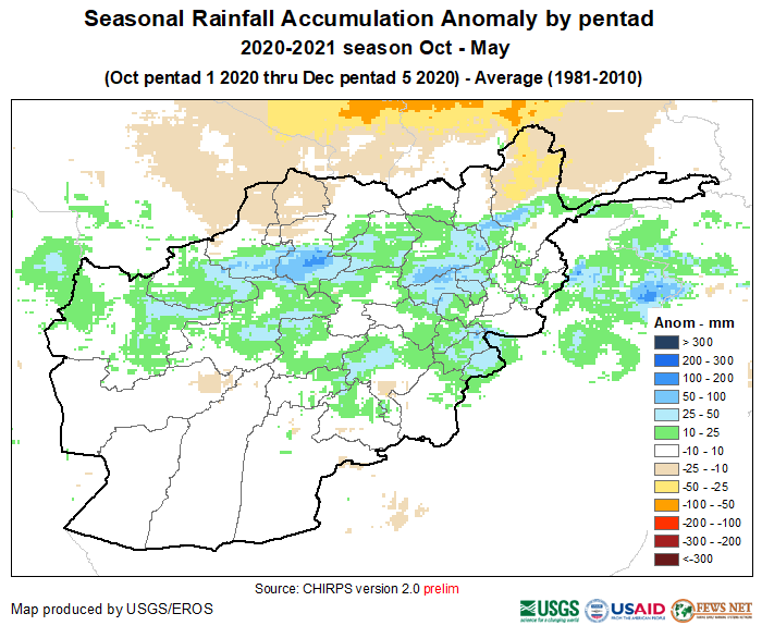 This is a map of Afghanistan showing that precipitation of 10-100 mm above average has been received across much of the country. Average precipitation has been received in the southwest. Deficits of 10 to 25 mm have been recorded in some northern areas.
