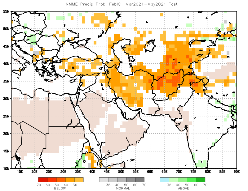 This is a map showing that below average precipitation is forecast over most of Afghanistan, except the southwestern part.