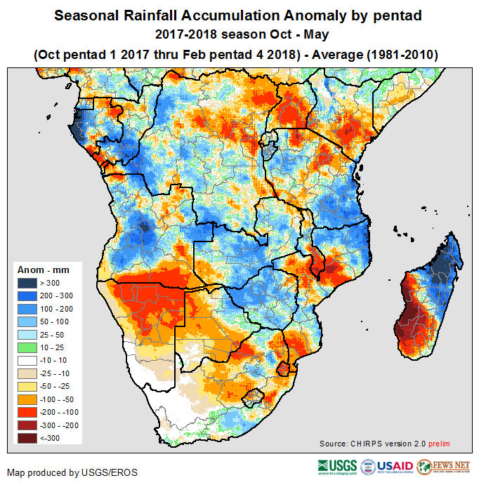 Figure 1. CHIRPS cumulative seasonal rainfall anomalies for the period from October 2017 through February 2018