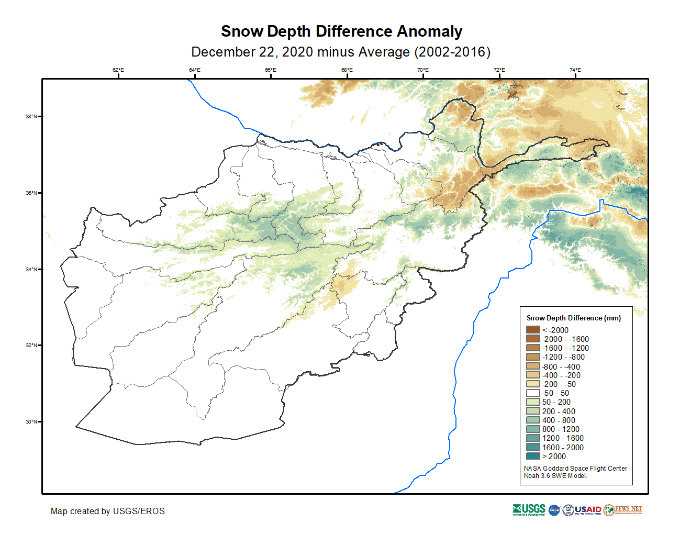 This is a map of Afghanistan showing that above average snow depth has been recorded in many central highland areas. However, snow depth is below average in some northeastern high elevation areas.