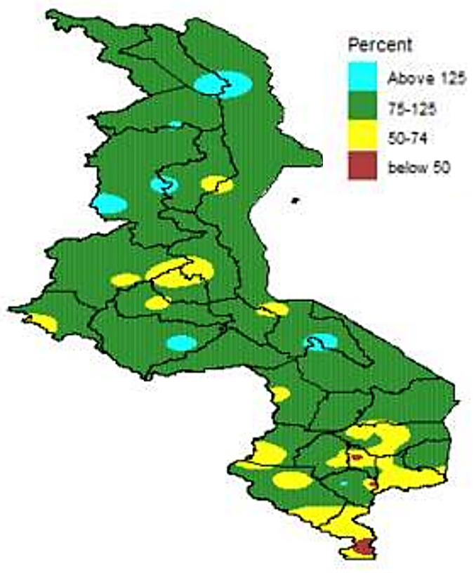 This is a map of Malawi showing most of the country in green, indicating that cumulative rainfall has been 75-125% of average, though localized areas of lower (especially in the south) and higher (especially in the north) exist.