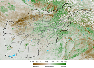 This is a map of Afghanistan showing that vegetation conditions are below average in many southern, western, northern, and northeastern parts of the country. Vegetation conditions are above-average in some central and northeastern parts of the country, as well as in the south along the Helmand river.
