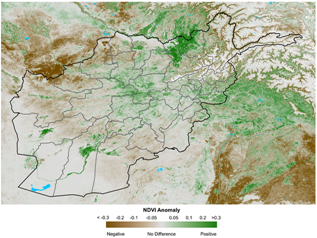 This is a map of Afghanistan showing that vegetation conditions are below average in many southern, western, northern, and northeastern parts of the country. Vegetation conditions are above-average in central parts of the country and some northeastern parts of the country, as well as in the south along the Helmand river.