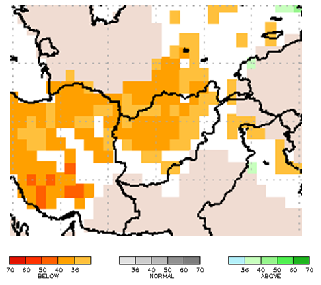 This is a map of Afghanistan with orange colors covering most of the country, indicating that there is an elevated probability of precipitation in the lowest tercile (33-40 percent chance).