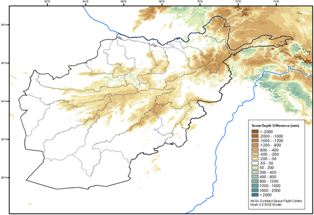 This is a map of Afghanistan showing that below average snow depth has been recorded in many central highland areas.