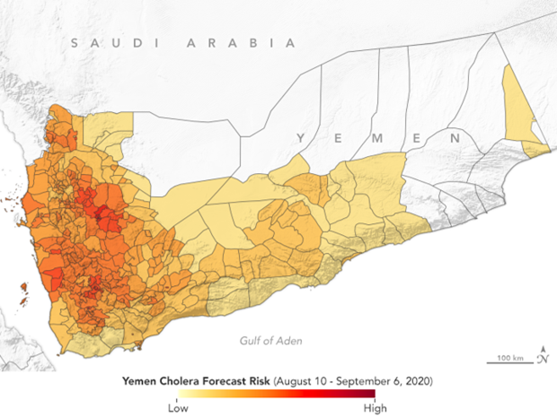 This map shows many districts in western Yemen - and especially districts in Sana'a ,Al Hudaydah, and Ibb governorates - mapped in darker red colors, indicating higher risk of cholera through early September 2020.