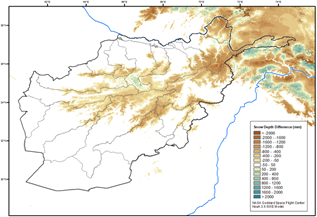 This is a map of Afghanistan showing that below average snow depth has been recorded in most highland areas, though with some localized above-average anomalies.