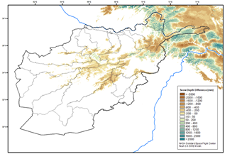 This is a map of Afghanistan showing that below average snow depth has been recorded in most highland areas, though with some localized above-average anomalies especially in Badakhshan province.