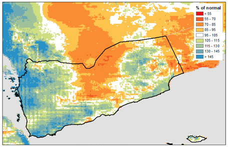 Map of rainfall over Yemen between July 1 and October 10, expressed as % of normal rainfall. Areas of western Yemen received rainfall exceeding 145% of normal levels.