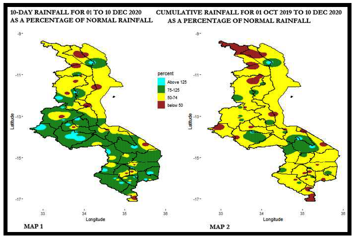 This is a map showing that southern Malawi received 75-125 percent of average rainfall from Dec 1-10, while cumulative rainfall from Oct 1 to Dec 10 was 50-74% of average across most of the country. However, there are small areas across the country that received quite a bit less or quite a bit more rainfall during both periods.