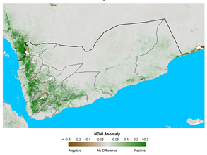This is a map showing green colors indicating above-average vegetation conditions in much of western Yemen, especially highland areas.