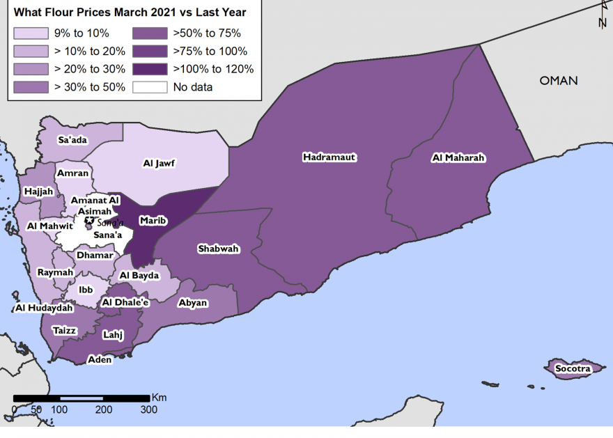 This map shows that wheat flour prices have increased everywhere, but southern governorates have experienced the greatest wheat flour price increases relative to last year, and Marib has been the worst affected.