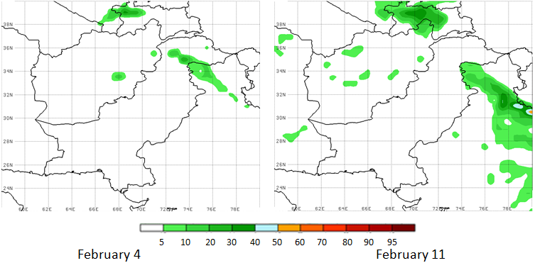 These are maps of Afghanistan showing white covering nearly all of the country in both maps, indicating a high probability of dry weather in the next 14 days. Some spots of light green colors indicate a low probability (5-10%) or precipitation of at least 25 mm.
