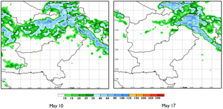 These are two maps of Afghanistan showing green and blue colors, indicating precipitation of up to 80 mm, across much of the country (except the south) in the week ending May 10 and across some northeastern parts of the country in the week ending May 17. White colors indicate dry conditions otherwise.