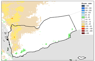 This is a map of Yemen showing that below-average rainfall has been received in many western and northwestern areas.