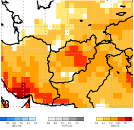 This is a map of Afghanistan showing orange and red colors across nearly all of the country, indicating above-average temperatures are expected.