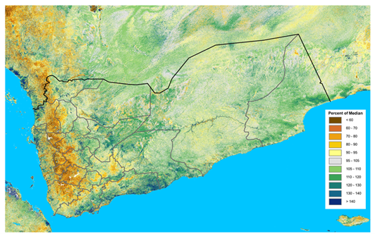 This map shows worse-than-normal vegetation conditions across Yemen's highlands and much of the Red Sea coast.