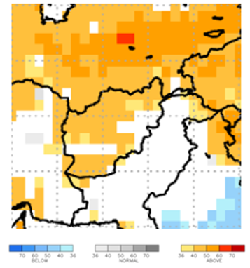 This map of Afghanistan shows orange colors covering most of the country, indicating elevated probability for above average temperatures.