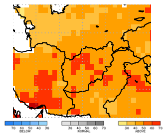 This map of Afghanistan shows orange and red colors covering all of the country, indicating a high probability for above average temperatures.