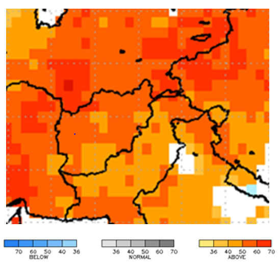 This map of Afghanistan shows orange and red colors covering all of the country, except areas of the southwest, indicating a high probability for above average temperatures.