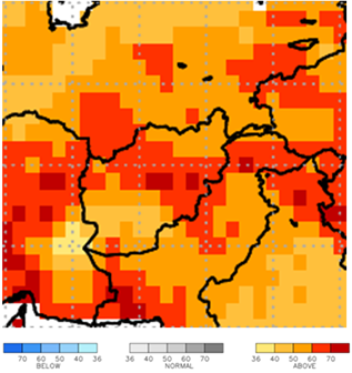 This map of Afghanistan shows orange and red colors covering all of the country, indicating elevated probability for above average temperatures.