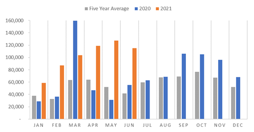 This is a graph showing that an above-average number of Afghans have returned from Iran in both 2020 and 2021 to date.
