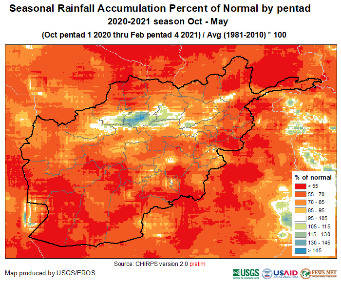 This is a map of Afghanistan showing that cumulative precipitation has been below average across almost all of the country.