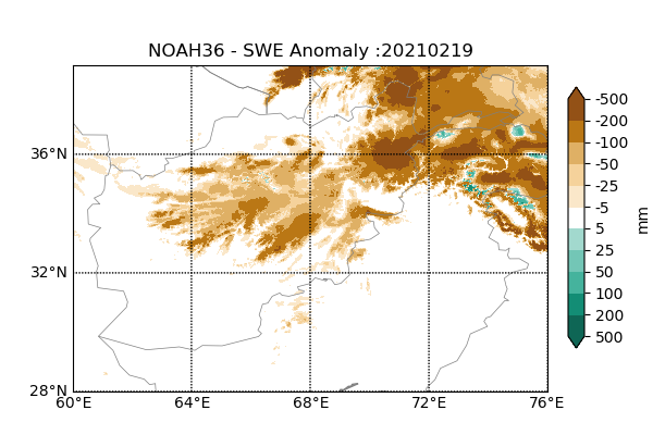 This is a map of Afghanistan showing that snow pack has been below average across nearly all areas where snow is typically received.
