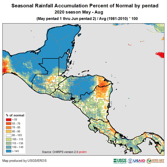 Much of the region received above average rain during the period. The eastern part of Guatemala and most of Nicaragua show values closer to the average.