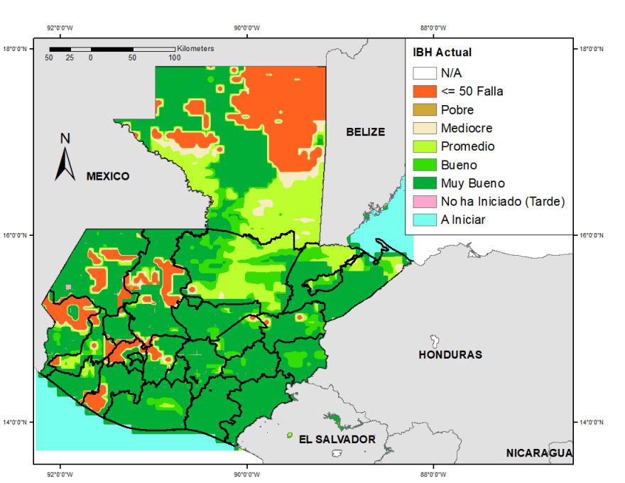 The majority of the country has a good water balance, except for the northeast and part of the western dry corridor.