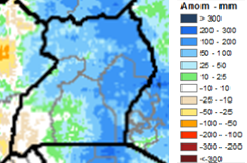 Raster map showing preliminary CHIRPS rainfall accumulation anomaly. Eastern Uganda experienced rainfall between 100-200mm above average between June-August 2019.