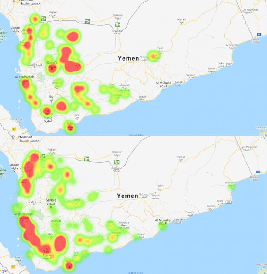 This image shows two heat maps of Yemen. The top map shows red spots indicating high frequency of conflict events relative to other areas in parts of Hajjah, Sa'dah, Al Hudaydah, Sana'a City, Sana'a, Ma'rib, Al Jawf, Ta'izz, Al Dali', Al Bayda, and Aden. The bottom map shows comparatively lower relative frequency of events in Sana'a City, Sana'a, Ma'rib, Al Jawf, and Al Bayda, but higher relative frequency in Hajjah, Sa'dah, Al Hudaydah, and Al Dali'.