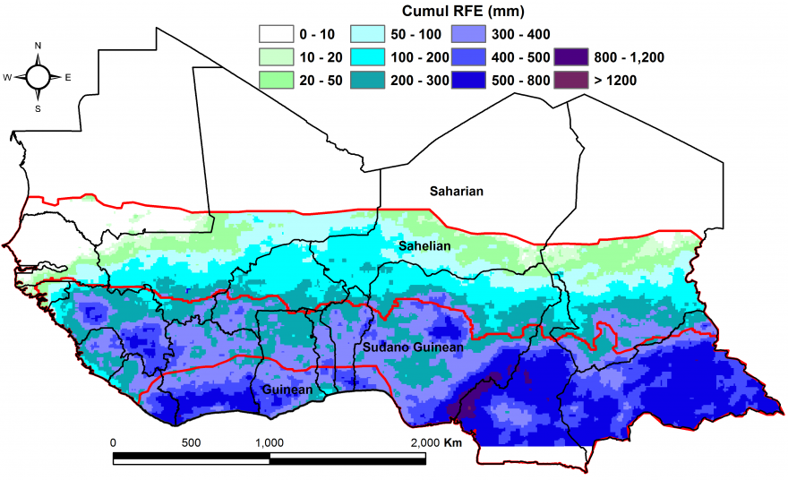 Figure 1: Total rainfall estimate (RFE) in mm, 1st dekad of April - 2nd dekad of June