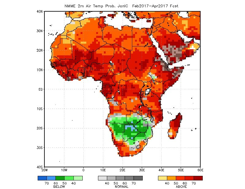 Figure 1: NMME temperature probabilities forecast for February-March