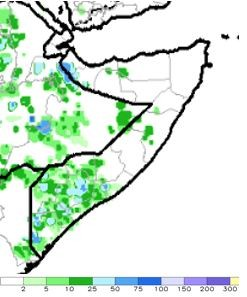 Map of estimated rainfall in mm. Most of northern and central Somalia received no rainfall, except localized areas in the northwest. Most of south Somalia received light to moderate rainfall.