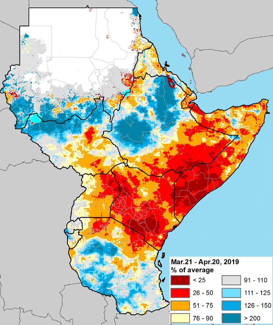Rainfall was less than 50 percent of normal in south-central Somalia, southeastern Ethiopia, most of Kenya, northeastern Uganda, and parts of northern Tanzania. Other areas show less sever deficits ranging from 51 to 75 percent of normal.